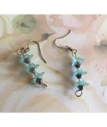 Blue Beaded Flower Dangle Hook Earrings, Drop Earrings, Gift Idea, Gift ... - $19.95