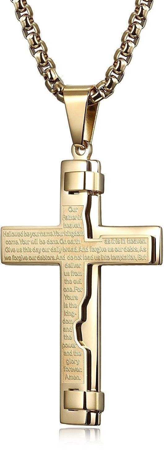 mens stainless steel cross pendant necklace engraved keys. Black Bedroom Furniture Sets. Home Design Ideas