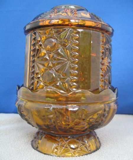 Vintage Fairy Lamp Amber Indiana Glass Stars & Bars Candle H