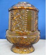 Vintage Fairy Lamp Amber Indiana Glass Stars & Bars Candle H - $15.00