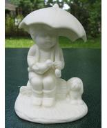 Little Boy Under Umbrella Figurine with Bird and Dog - $5.00
