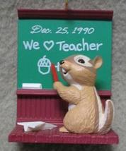 HALLMARK TEACHER KEEPSAKE ORNAMENT CHIPMUNK 1990 MIB - $7.00