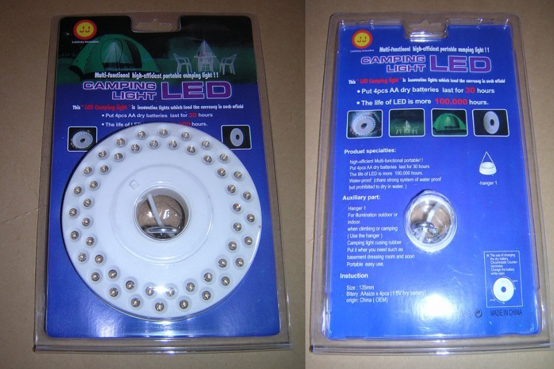 Packaged 48 LED Camping Light With Clip Hanger