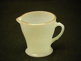 "Old Vintage Golden Shell by Anchor Hocking 3-1/2"" Creamer White Milk Gla... - $14.84"