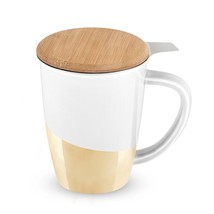 Cute Mug, Bailey Gold Dipped Insulated Tea Novelty Unique Ceramic Infuse... - $23.99