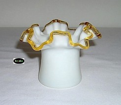 Fenton Gold Crest Double Crimped Hat Vase #1 Vintage - $14.95