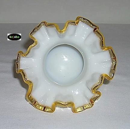 Fenton Gold Crest Double Crimped Hat Vase #1 Vintage