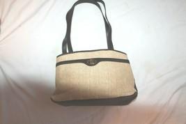 Vintage Etienne Aigner Brown Handbag Woven Basket fabric trimLeather Handbag - $19.80