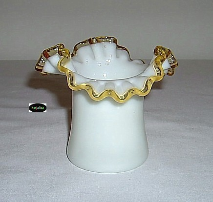 Fenton Gold Crest Double Crimped Hat Vase #3 Vintage