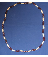 Vintage Browns Wood Beaded Necklace - $9.99