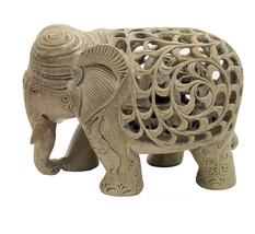 Handmade Sand Stone Undercut Trunk Down Carving Elephant - $69.98
