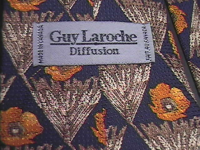 Guy Laroche Diffusion Neck Tie Florals in Browns and Golds on Blue Background