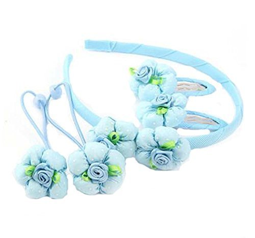 Set of 5 Children Hair Bands Beautiful Hairpins and Hair Circle, Blue