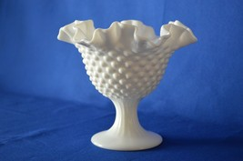 Fenton Hobnail Milk Glass Compote Candle Holder Ruffled Top - $12.38