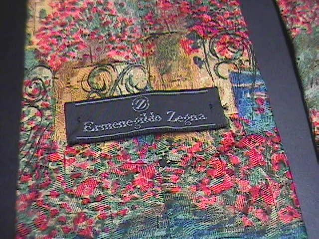 Ermenegildo Zegna Silk Neck Tie Colorful SeaSide Reds Blues