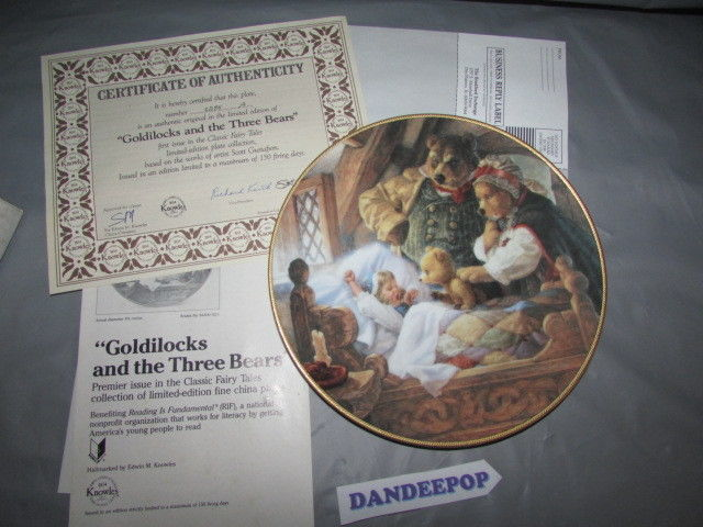 Knowles Goldilocks And The Three Bears Premiere Issue Collector Plate 1991 Ltd