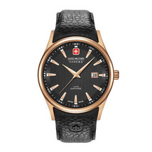 Mens Designer Quartz Watch Swiss Military-NAVALUS_06-4286_09 Black Leather Strap - $143.28