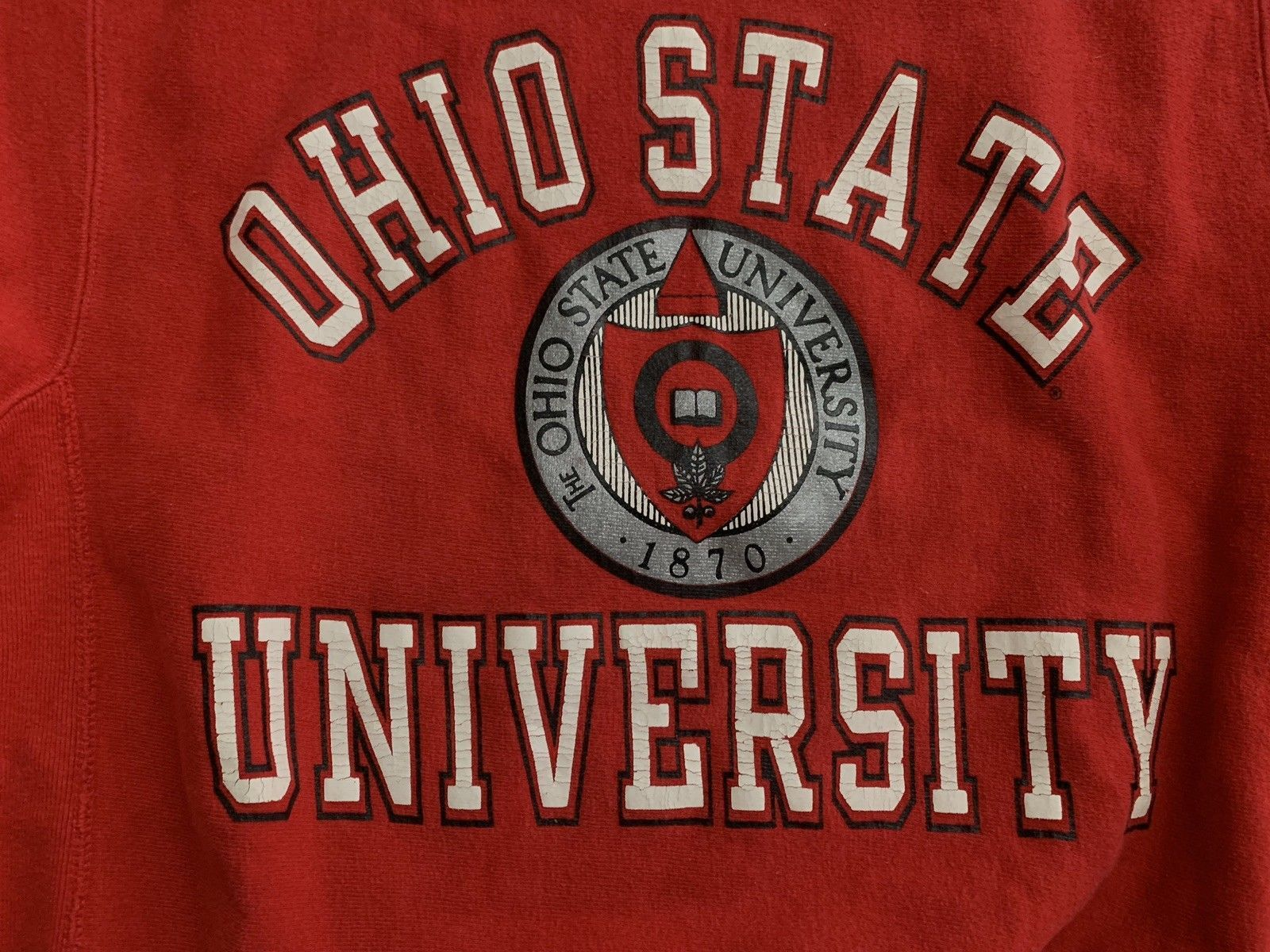 OSU Champion Reverse Weave VTG Ohio State Sweatshirt L Red USA Made Rare Mint