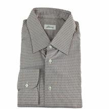 J-3401960 Neuf Brioni Blanc Rose Mole Oxford Robe Bouton Shirt Taille 17... - $253.80