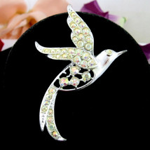 BIRD OF PARADISE PIN Sarah Coventry Vintage Brooch  AB Rhinestones Silve... - $26.99