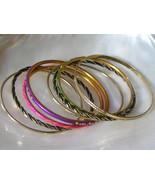 Lot of 8 Purple Pink Green Enamel Black & Goldtone Twist Variety Bangle ... - $8.59