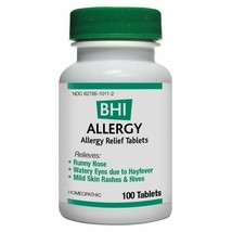 BHI Allergy Relief Natural, Safe Homeopathic Relief - 100 Tablets - $13.91