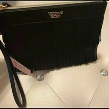 Victoria's Secret Clutch On the Fringe Night Out Wristlet Pouch Black - $14.80
