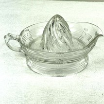 Vintage Citrus Juicer Squeezer Reamer Clear Heavy Pressed Glass MCM Kitc... - $12.86
