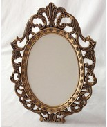 Vintage Ornate Metal Brass Photo Frame 5x7 Oval Wall Stand Easel Creativ... - $12.86