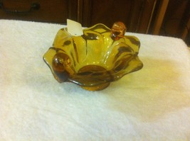 AMBER ART GLASS BOWL EXCELLENT CONDITION BEAUTY - $19.75