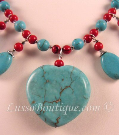 Turquoise and Blood Stone Semi Precious Gemstone Necklace