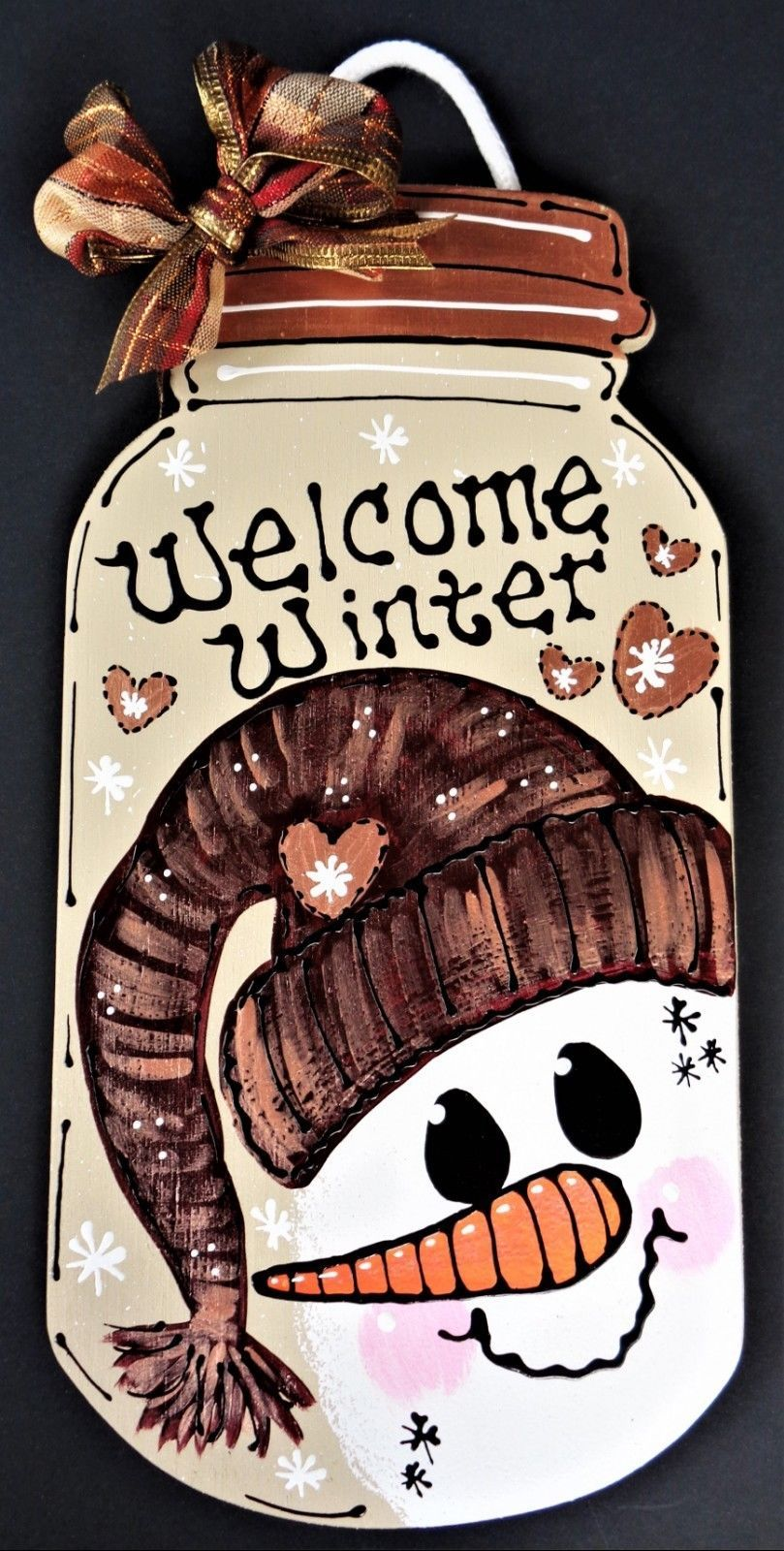 Welcome Winter SNOWMAN MASON JAR SIGN Wall Art Door Hanger Plaque Holiday Decor