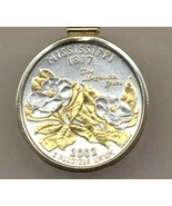 State of Mississippi, Gold on Silver, Quarter Pendant Necklace,Gold Fill... - $85.00