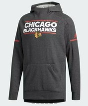 Chicago Blackhawks Adidas Pullover Hoody Squad Sweater Sz Medium Gray NHL - $72.26