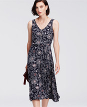 Ann Taylor Paisley Print Belted Jersey Midi Dress, Rayon, Navy Blue, Size M, NWT - $71.99