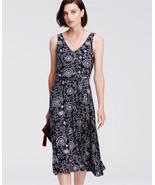 Ann Taylor Paisley Print Belted Jersey Midi Dress, Rayon, Navy Print Siz... - €63,84 EUR
