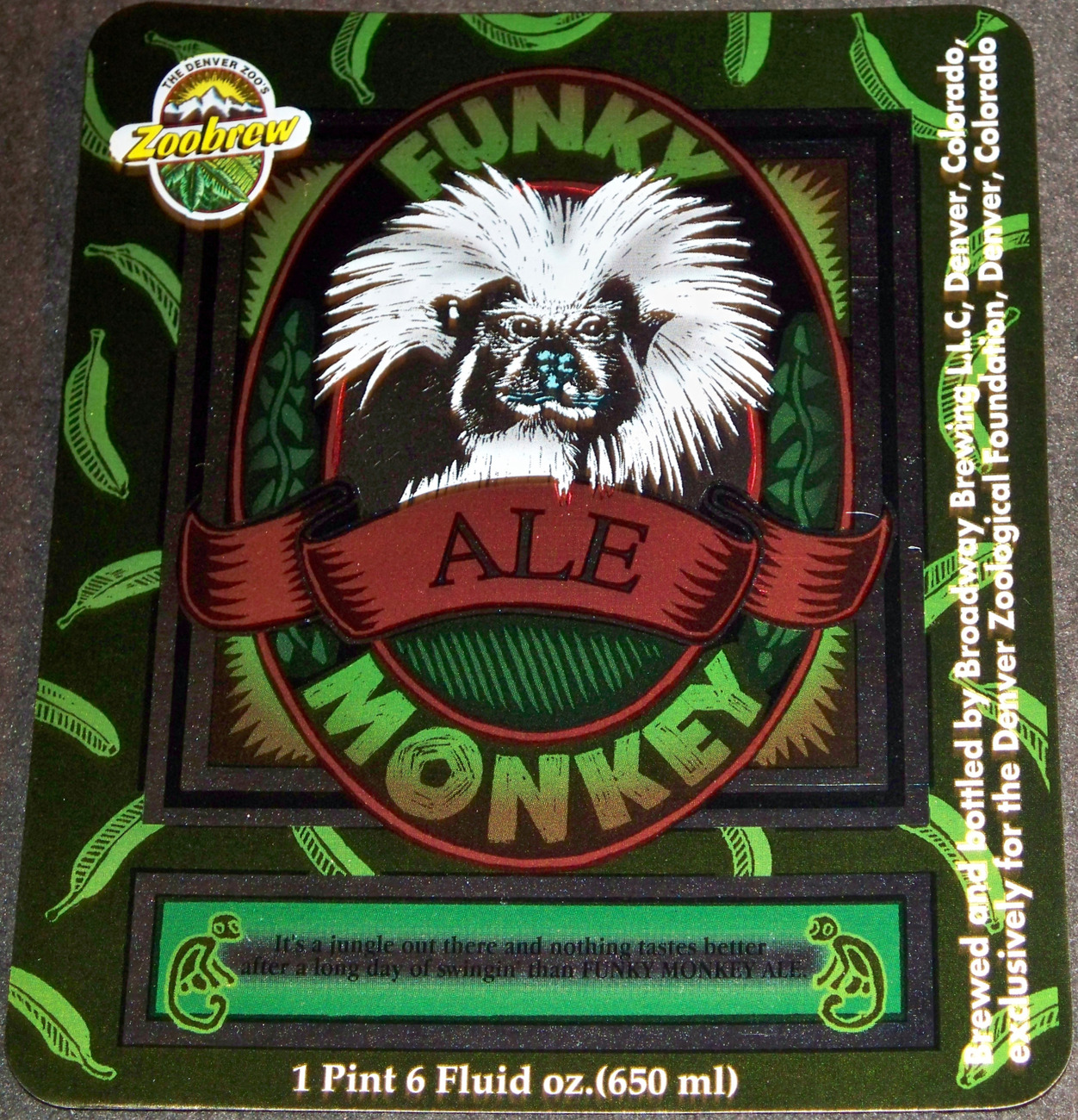 Unique and Exotic! Funky Monkey Ale Label
