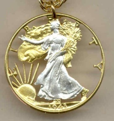 U.S. Walking Liberty  half  (minted 1916-1947) , cut coin pendant with 14k chain