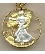 U.S. Walking Liberty  half  (minted 1916-1947) , cut coin pendant with 1... - $120.00