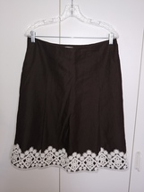 Loft Ann Taylor Ladies Dark Brown LINEN/RAYON A-LINE Fully Lined Skirt W/WHITE C - $18.99