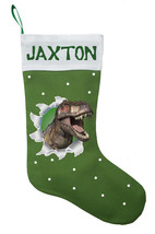 Dinosaur Christmas Stocking - Personalized and Hand Made T-Rex Christmas... - $29.99