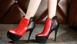 PB166 awesome spell color Martin booties, genuine leather, size 4-8.5, red/black - $99.80