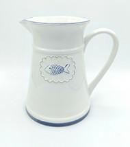 "Amici Ceramic White Fish Pitcher Carafe Nautical Beach Farmhouse 8.5"" St... - $58.04"