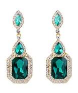 BriLove Women's Wedding Bridal Crystal Emerald Cut (Emerald Color Gold-T... - $18.15