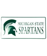 Michigan State Spartans White Metal License Plate Auto Tag Sign - $6.95
