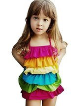 Beautiful Baby Girl Swimsuit Lovely Siamesed Swimsuit Multicolor