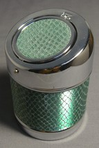 GLITTERY GREEN CANISTER ASHTRAY WITH LEAF CIGARETTE HOLDER - $6.62