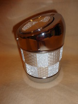 GLITTERY GREY SQUARES CANISTER ASHTRAY WITH LEAF CIGARETTE HOLDER - $6.62