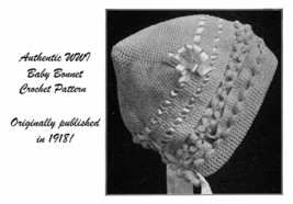 1918 Titanic WWI Baby Bonnet Crochet Sweater Pattern Baptism Christening... - $5.99