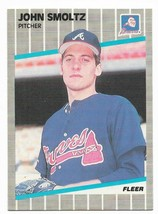 1989 Fleer #602 John Smoltz, Atlanta Braves, Rookie - $1.70